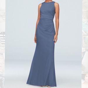 David's Bridal Bridesmaid Dress F19946 Steel Blue
